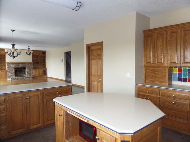 kitchen with family room shown