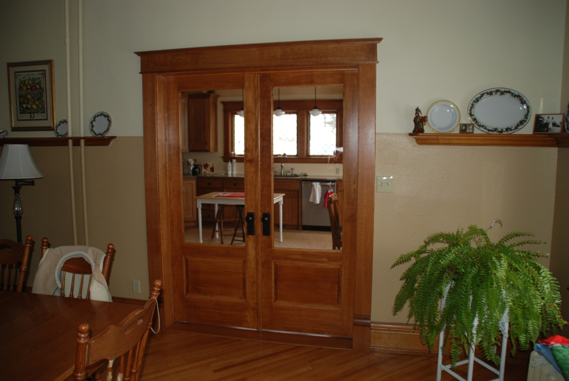 French doors leading to the addition.