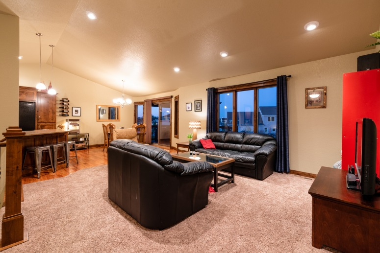 Enter into an open living space with wonderfully vaulted ceilings.