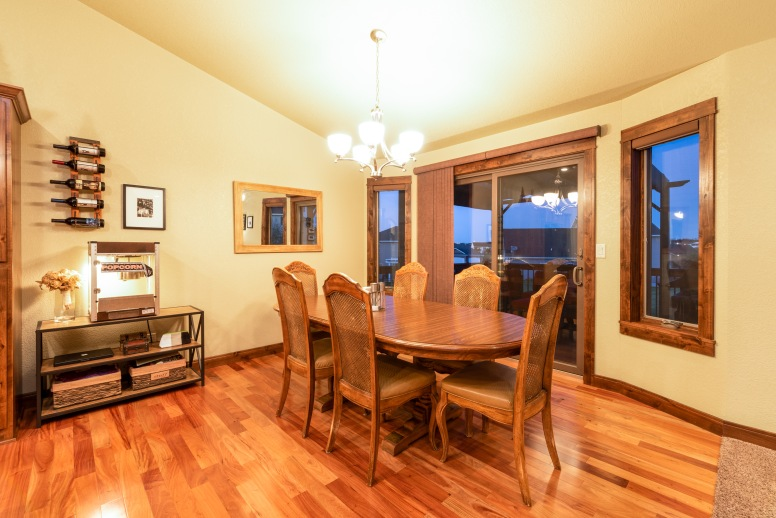 Hardwood through the dining and kitchen areas.