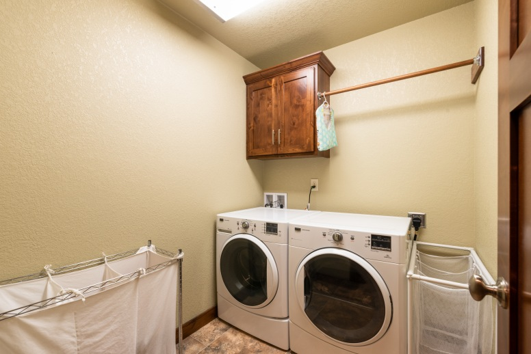 Main level laundry, close to the back entry.