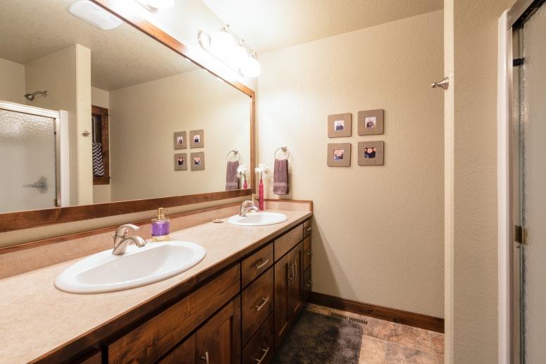 Master bath, dual sinks.